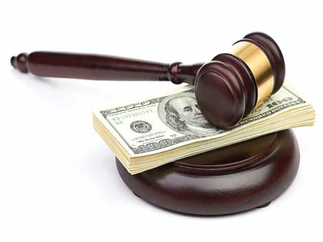 Gavel and money representing alimony